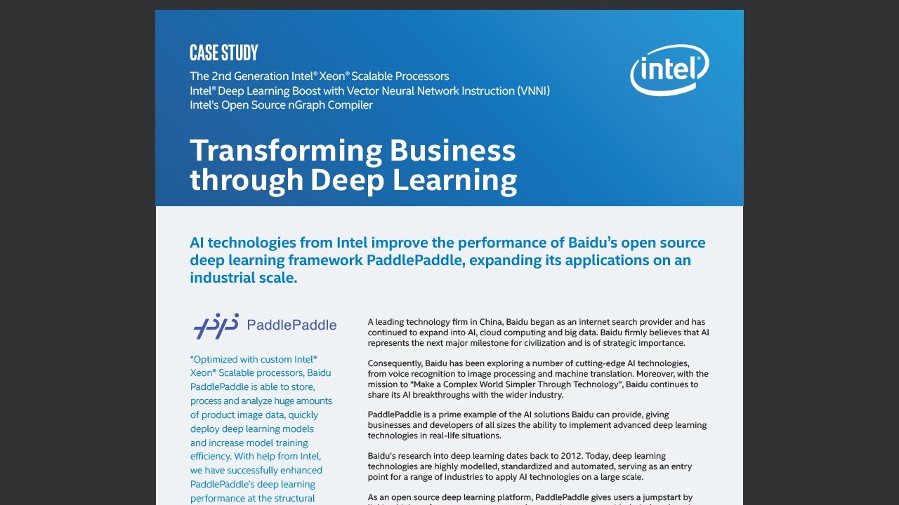 Transforming Business through Deep Learning - Intel AI