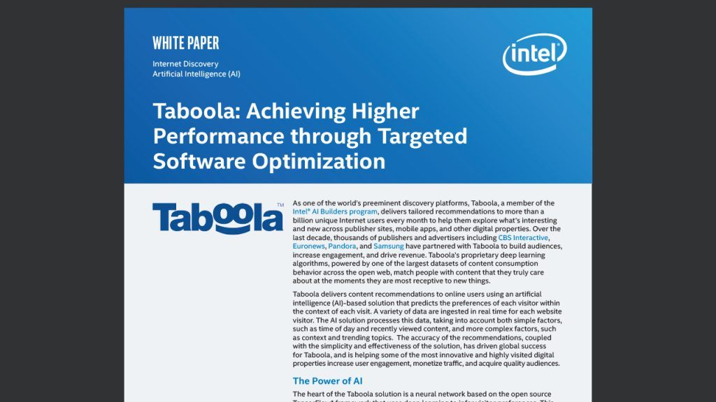 Taboola Optimizes Artificial Intelligence for Smarter Content Recommendations