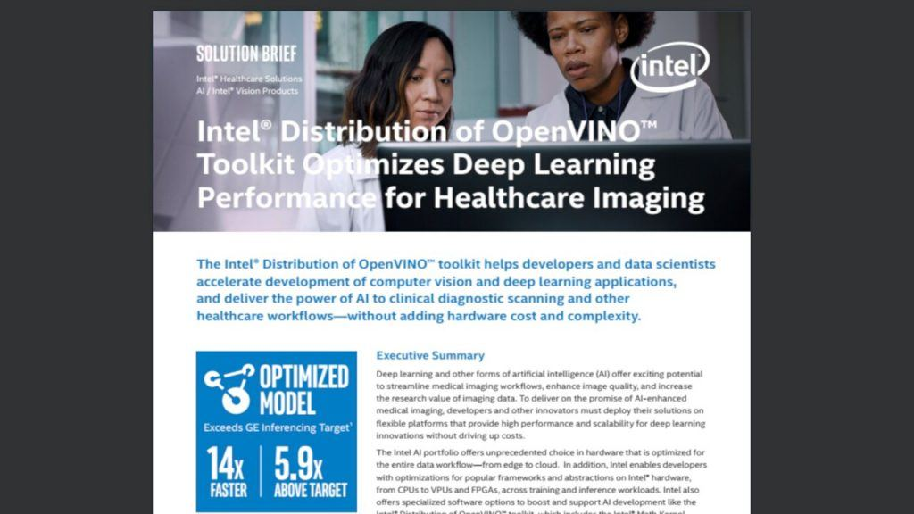 Intel® Software Development Tools Optimize Deep Learning Performance for Healthcare Imaging