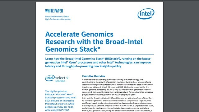 Accelerate Genomics Research with the Broad-Intel Genomics Stack