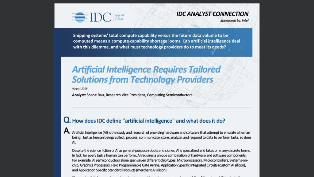 Artificial Intelligence Requires Tailored Solutions from Technology Providers
