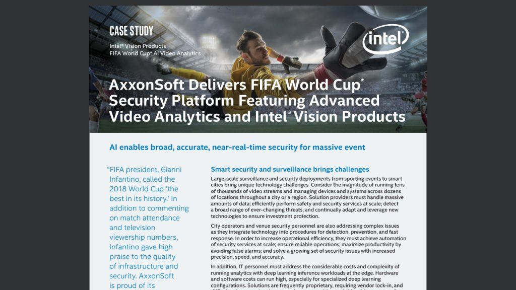 AxxonSoft Delivers FIFA World Cup* Security Platform Featuring Advanced Video Analytics and Intel® Vision Products