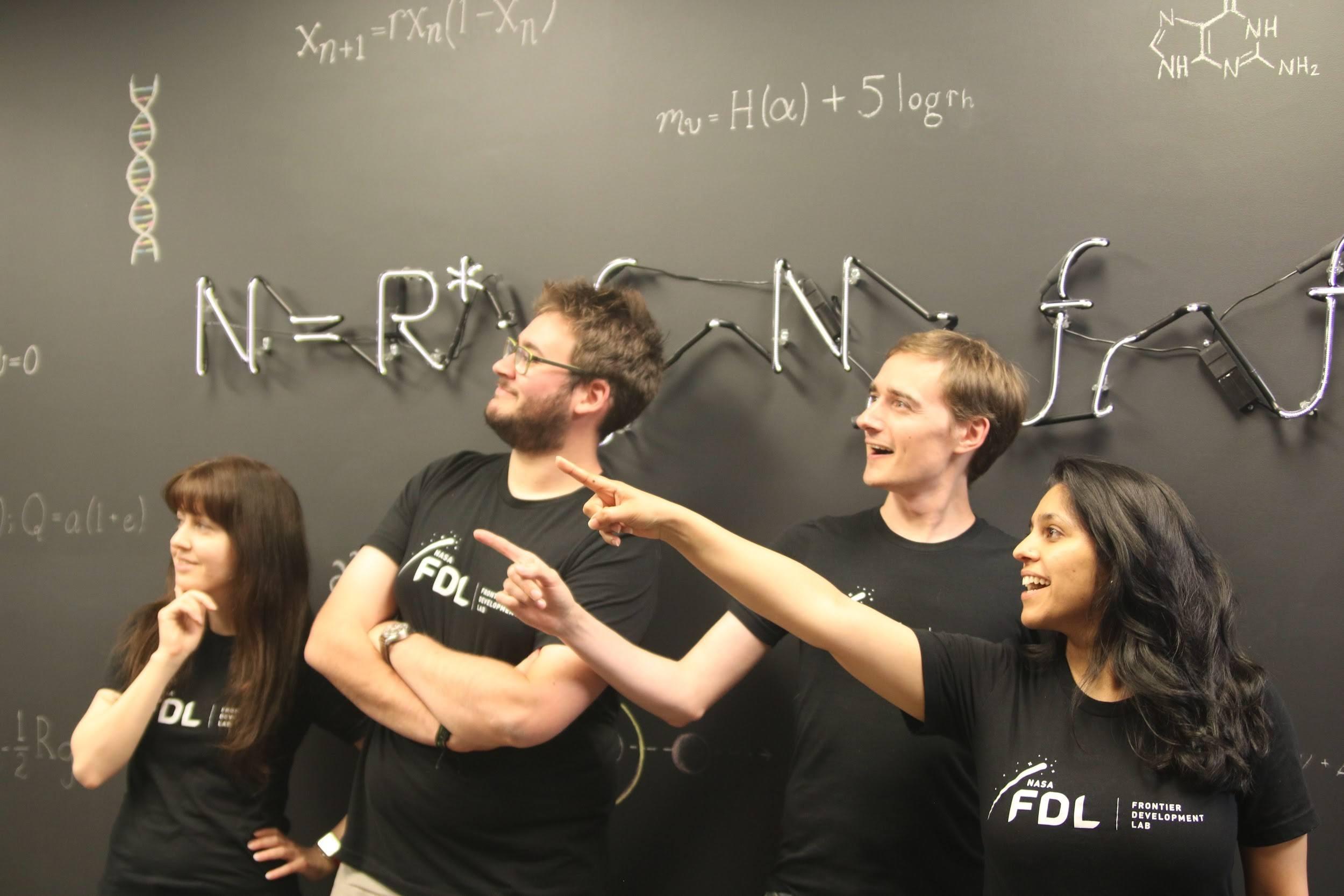Figure 3: the GNSS team. From left to right: Kara Lamb (CIRES / NOAA), Athanasios Vlontzos (Imperial College London); Edward Wagstaff (University of Oxford); Garima Malhotra (University of Michigan).