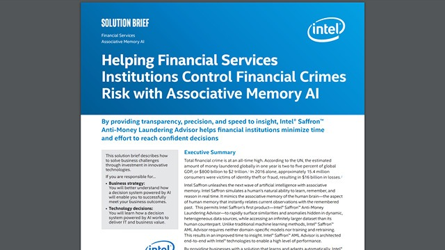 Helping Financial Services Institutions Control Financial Crimes Risk with Associative Memory AI