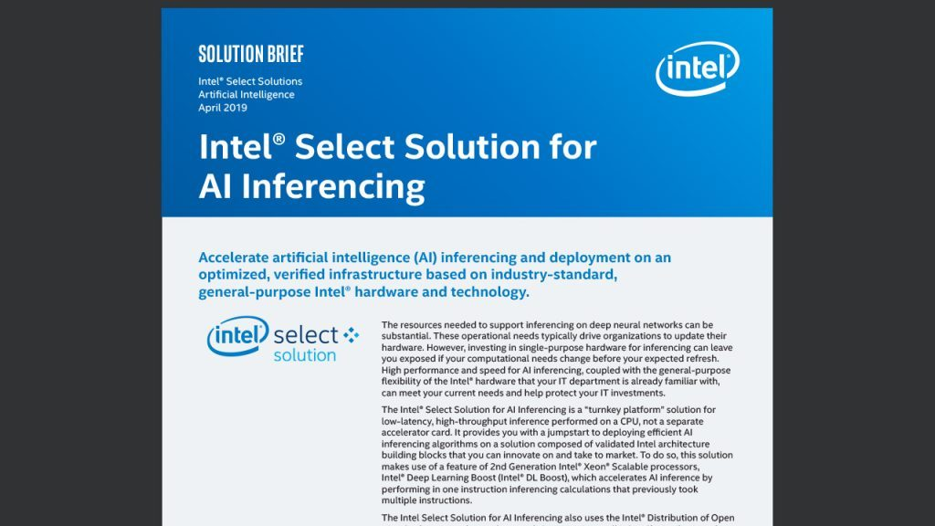 Intel® Select Solution for AI Inferencing