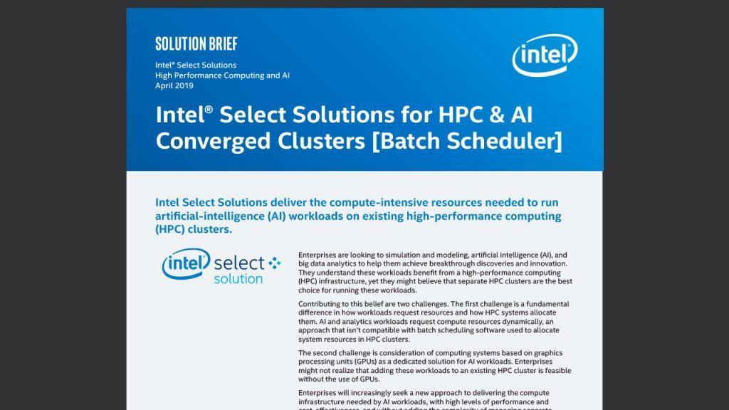 Intel® Select Solutions for HPC & AI Converged Clusters [Batch Scheduler]