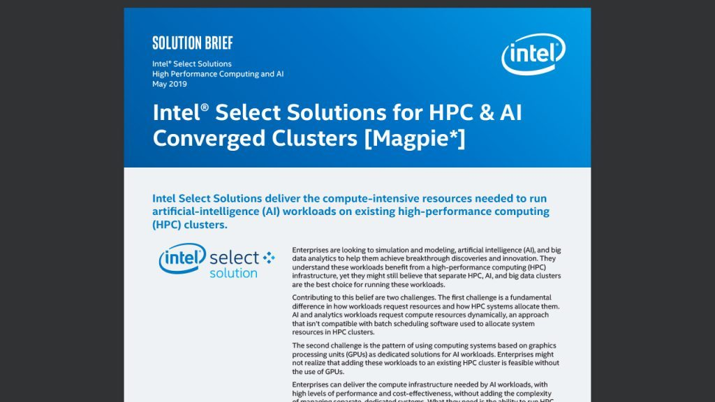 Intel® Select Solutions for HPC & AI Converged Clusters [Magpie*]
