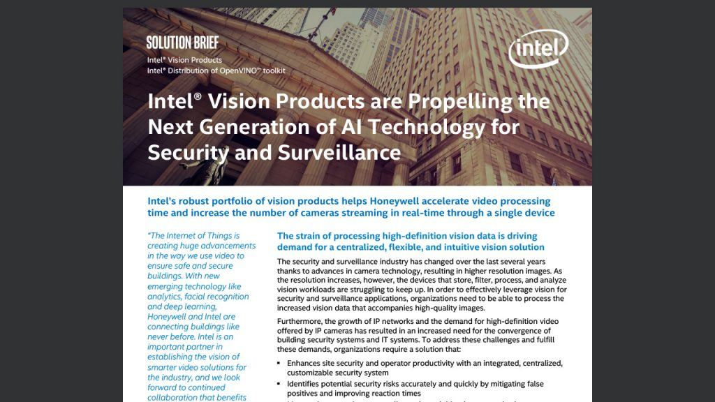 Intel® Vision Products are Propelling the Next Generation of AI Technology for Security and Surveillance