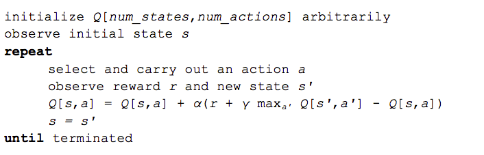 Q-learning algorithm example