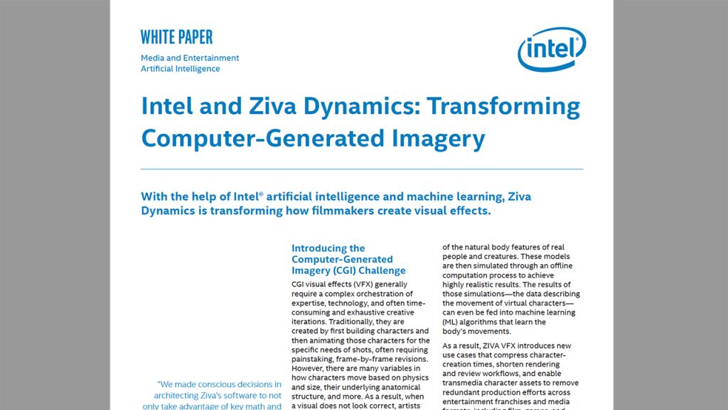 Intel and Ziva: Transforming Computer-Generated Imagery