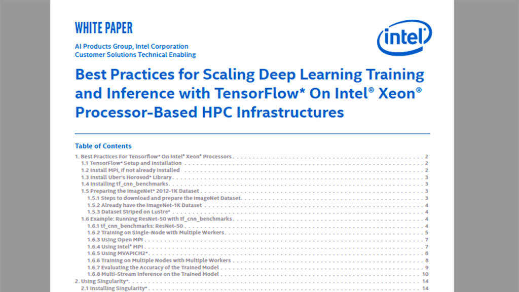 Best Known Methods for Scaling Deep Learning with Tensorflow* On Intel® Xeon® Processor Based Clusters