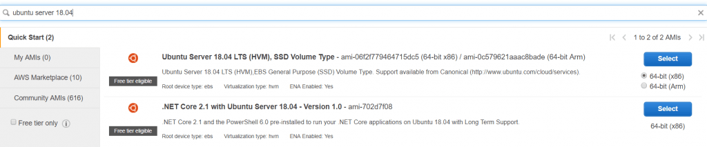 """2. Choose your desired AMI. In this demo, we will launch """"Ubuntu server 18.04""""."""