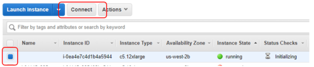 6. On the AWS console, you can find your instance running. Proceed to connect to it.