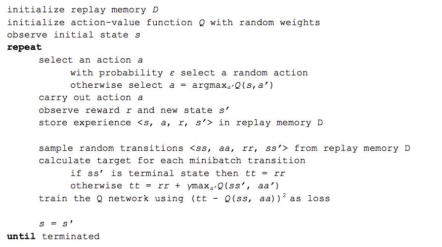 deep Q-learning algorithm