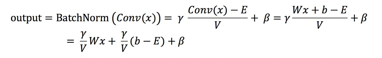 In the above formula, E is the learning mean and V is the variance,  and 𝗒 and βare parameters in batch normalization.