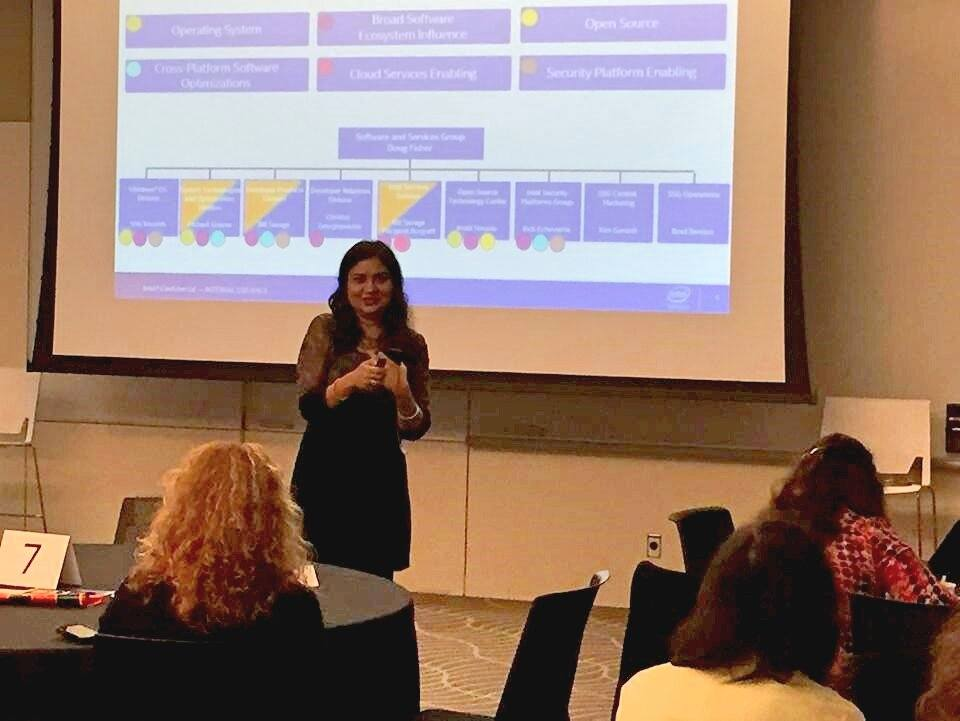 Huma Abidi speaking at a recent event at Intel for newly-hired female engineers