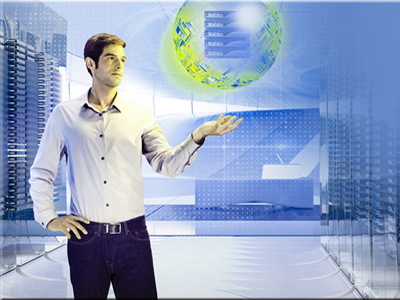 man in casual business attire with computer generated background and sphere floating above his hand