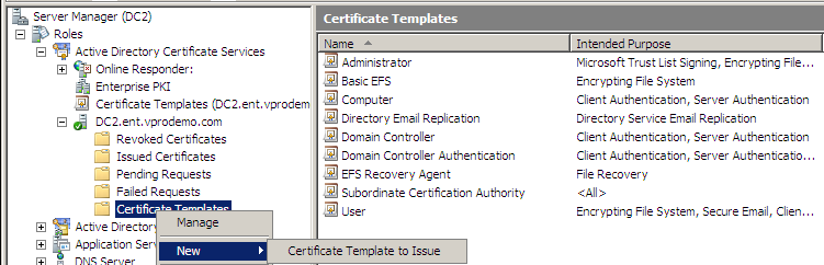 enterprise ca to issue certificate templates to the microsoft active directory microsoft standalone ca implementations do not include this option