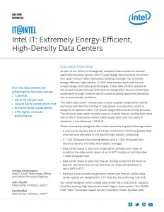 Intel IT: Extremely Energy-Efficient, High-Density Data Center Design White Paper