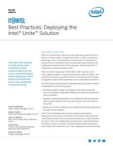 Best Practices: Deploying the Intel Unite® Solution White Paper