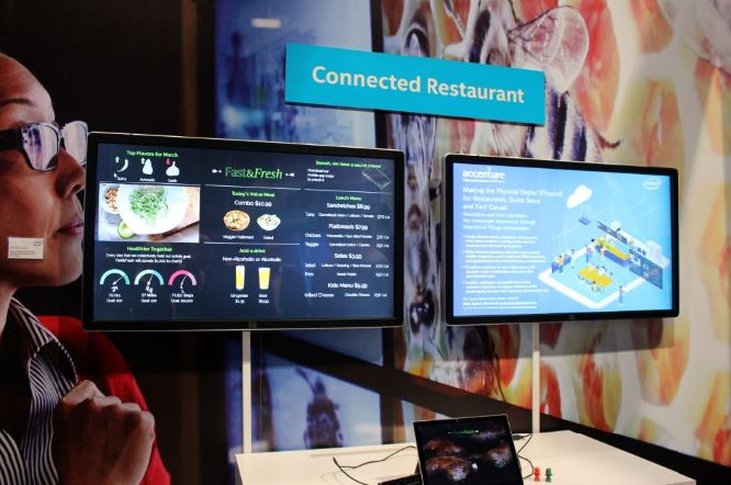 Intel IoT and Accenture connected restaurant demo at Digital Signage Expo 16.