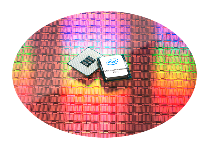 Intel Xeon E7 Processors sitting on mirror coated wafer