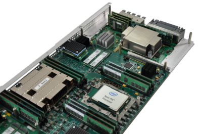 A blad module with the Xeon Phi processor prominately shown