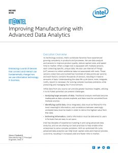 """Improving Manufacturing with Advanced Data Analytics White Paper"