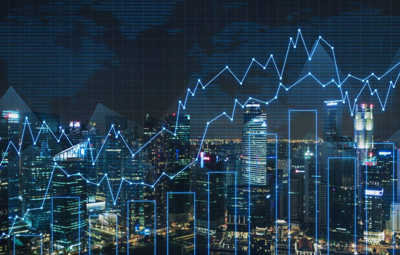 36591451 - stock chart on virtual screen, close up
