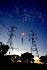 High voltage electrical towers at twilight
