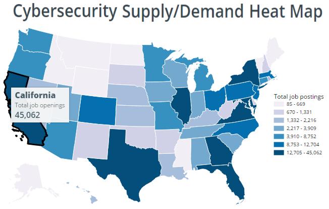 Cybersecurity job postings supply/demand heat map. CyberSeek1