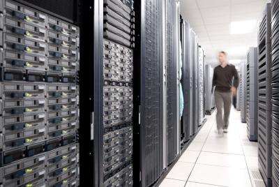 database administrator managing data center racks