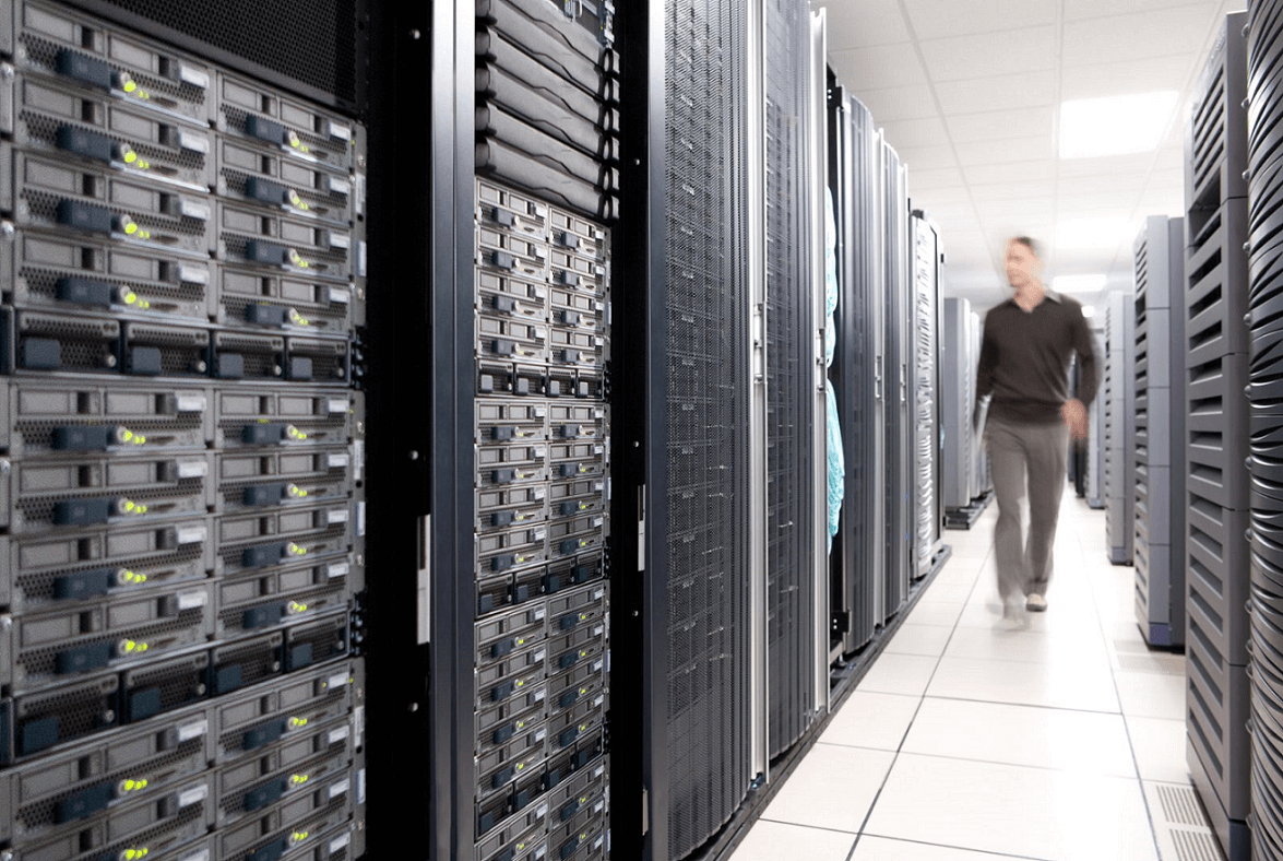 database administrator managing data center racks