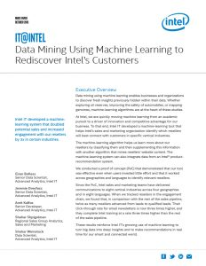 Data Mining Using Machine Learning to Rediscover Intel's Customers White Paper