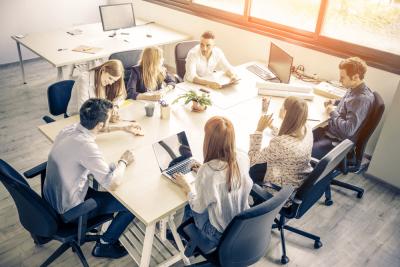 Entrepreneurs sitting in boardroom