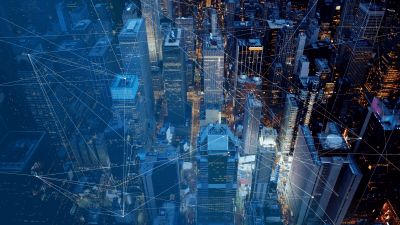 network connection overlaid on downtown cityscape