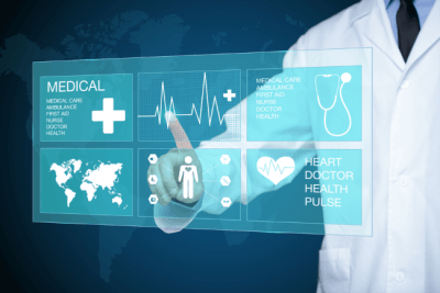 medical virtual touchscreen in a smart hospital