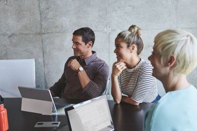 small business team meets to discuss security