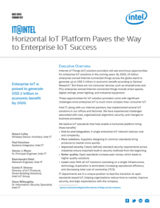 Horizontal IoT Platform Paves the Way to Enterprise IoT Success Paper