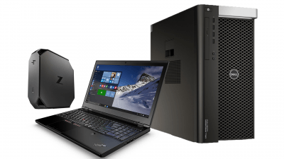 Pictured performance products left to right: HP Z2 Mini*, Lenovo P50 Mobile Workstation and Dell 7910 Fixed Workstation powered by Intel® Xeon® processors