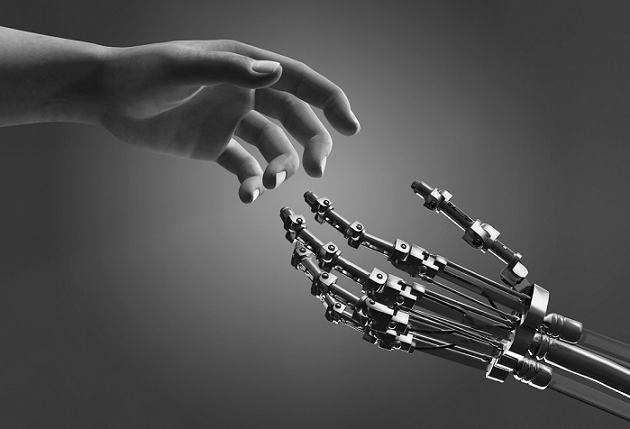 artificial intelligence and human hands