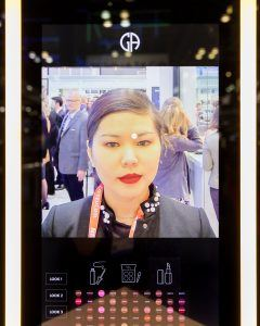 On display at NRF 2018 - A personalized makeover experience can be sent to a customer's phone.