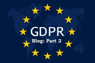 General Data Protection Regulation (GDPR) on blue dotted world map background