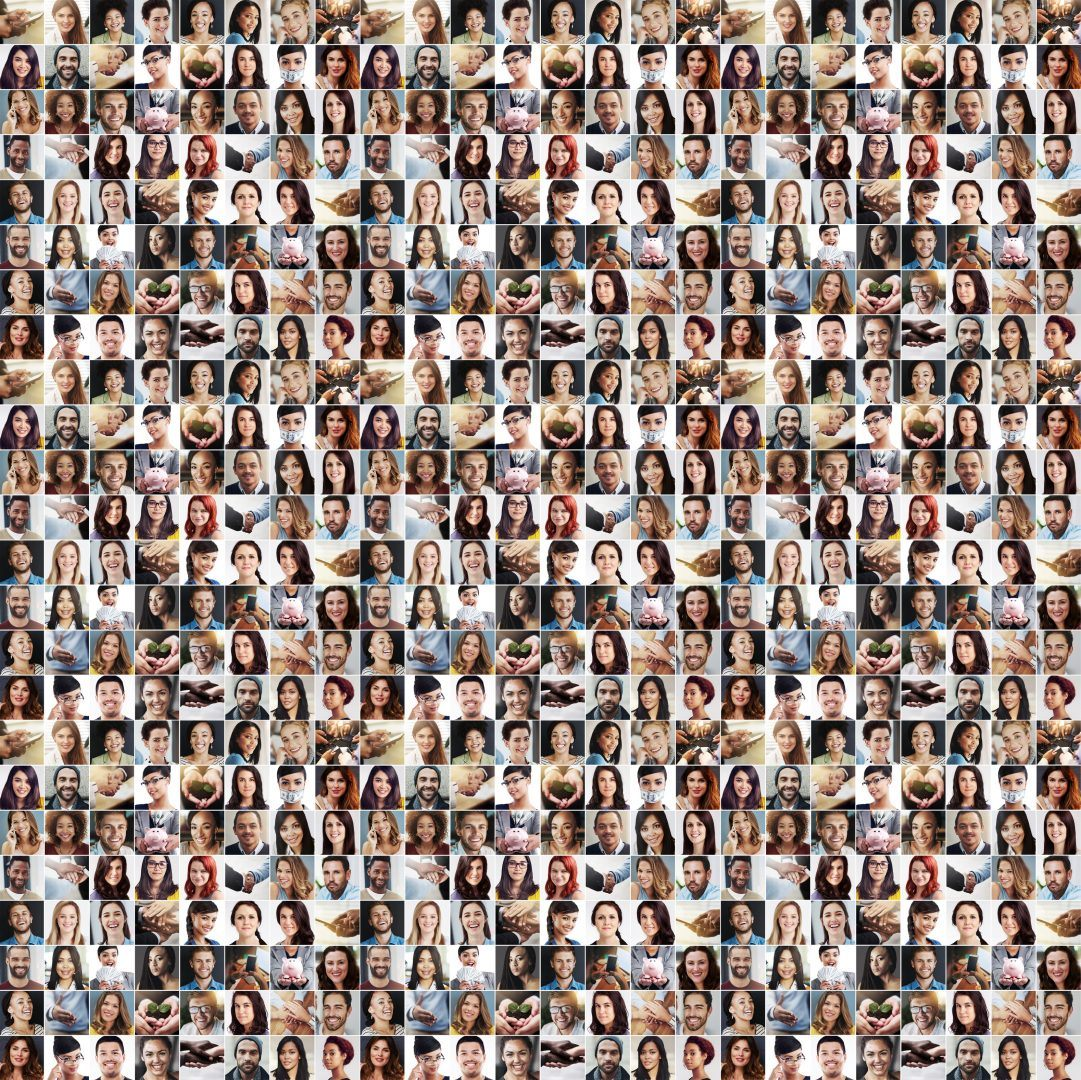 Composite image of many faces used to train machine learning algorithms.