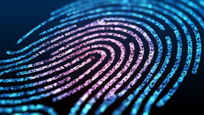 Digital fingerprint scan conveying the notion of cybersecurity and confidential computing..