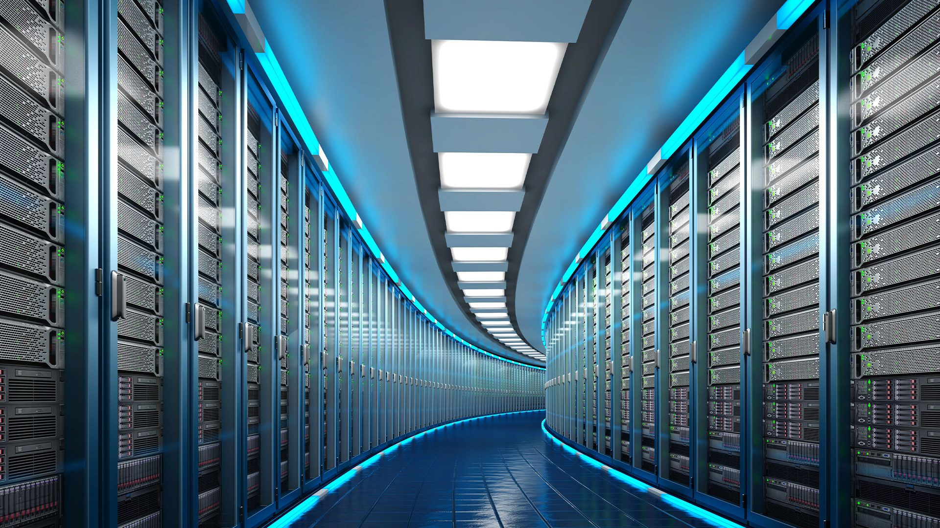 Data Center with a long, curving hallway showing the collaboration between Intel and Splunk.