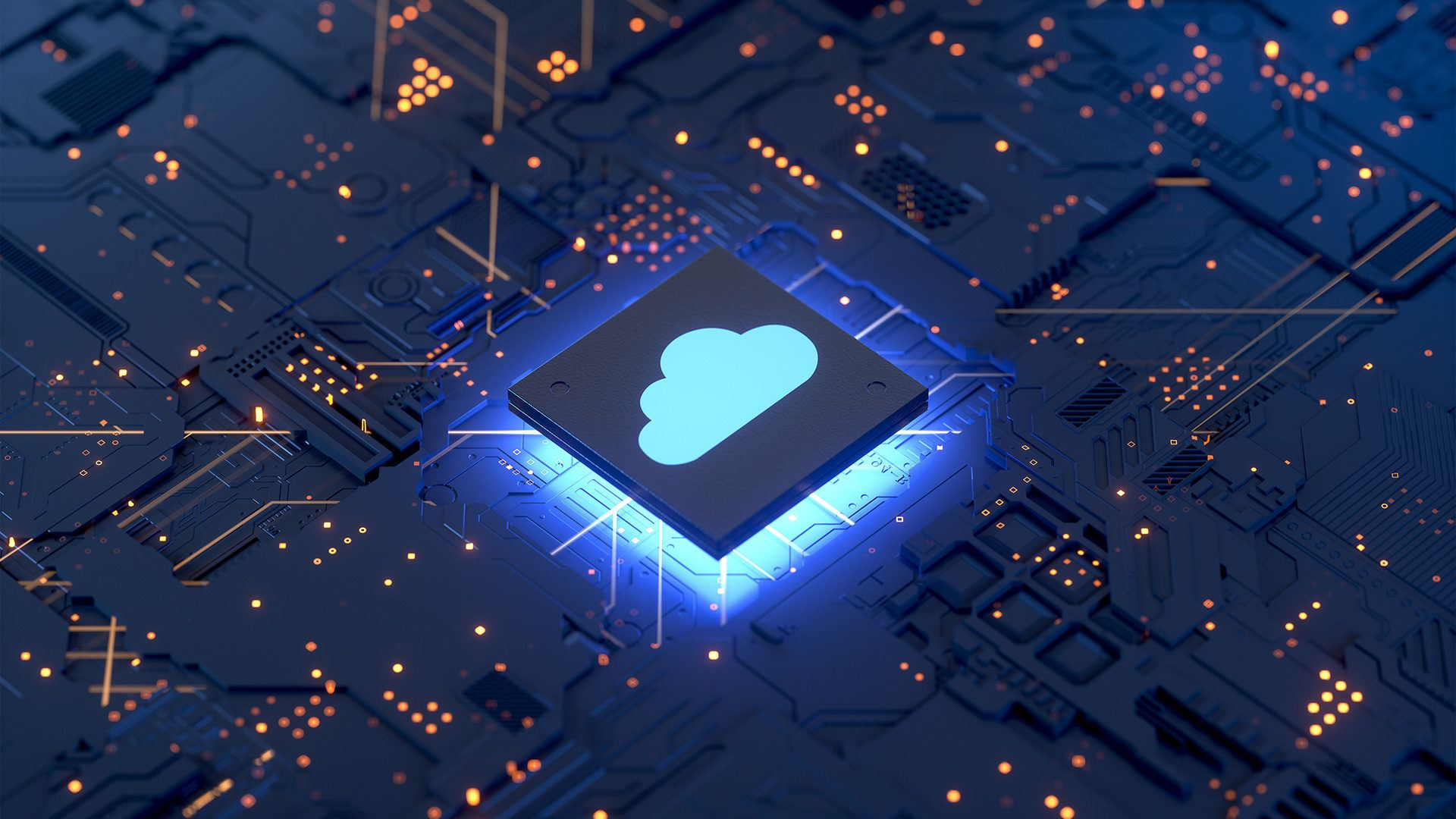 Concept image of a circuit board with a cloud icon
