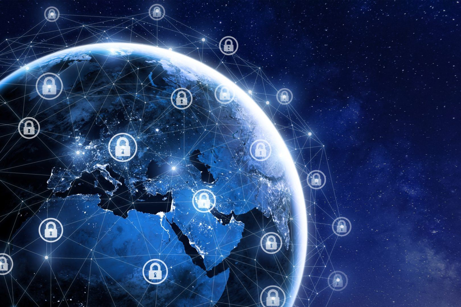 Image of the globe surrounded by digital locks to convey confidential computing paradigm.