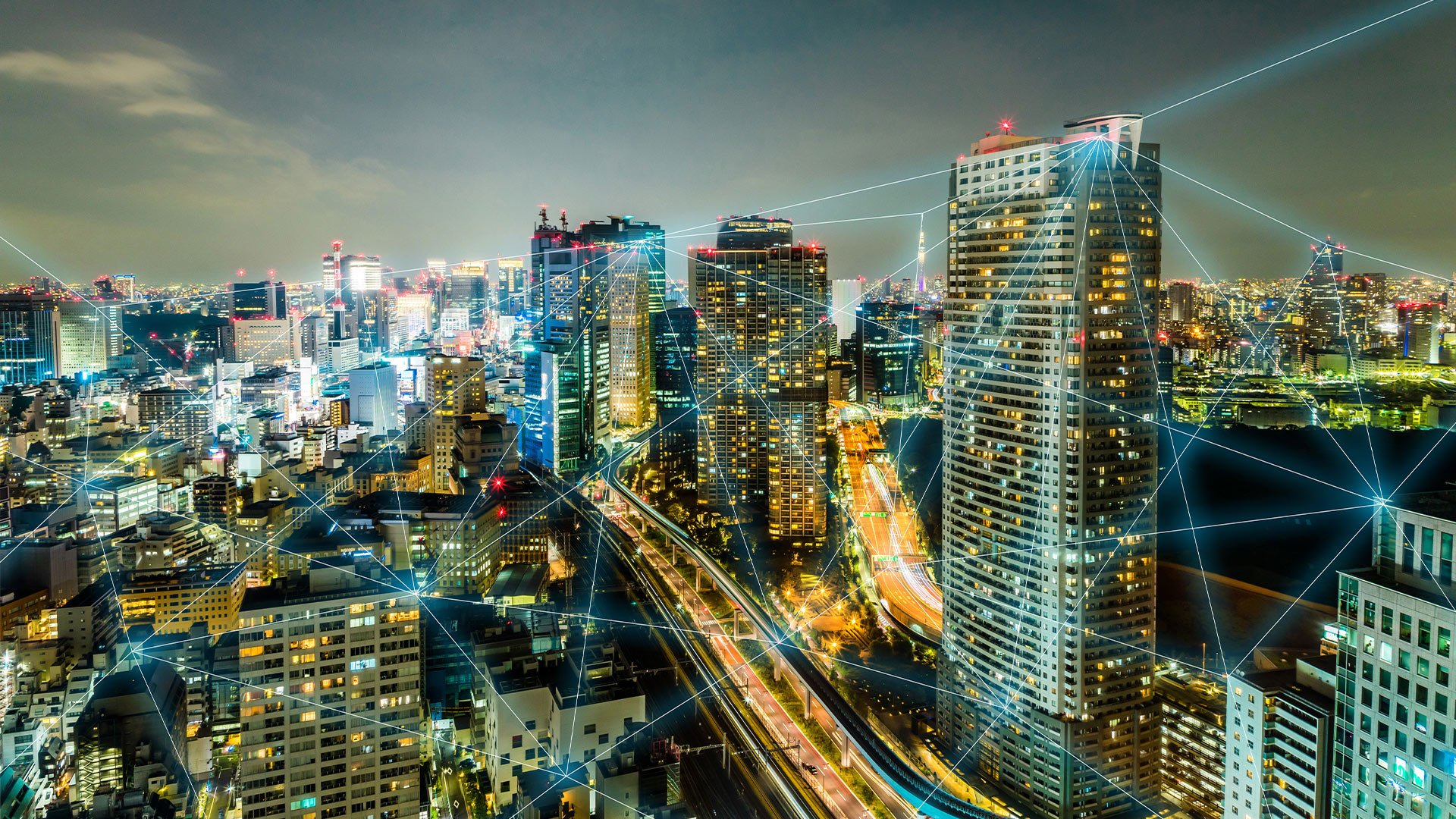 Image of a large connected city to convey VMware and Intel SmartNIC program