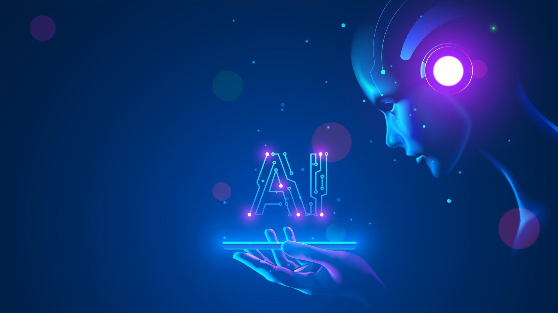 Concept image of a robot looking at a hologram of the letters AI